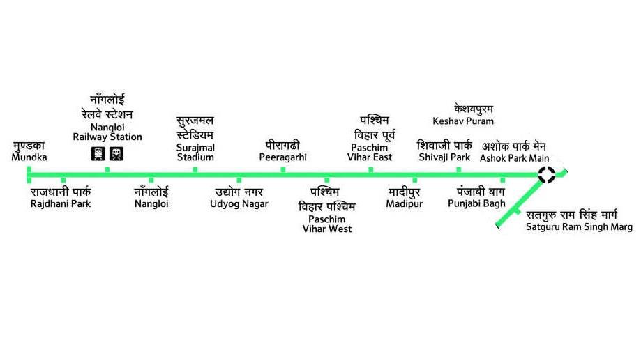दिल्ली मेट्रो हरा लाइन नक्शा