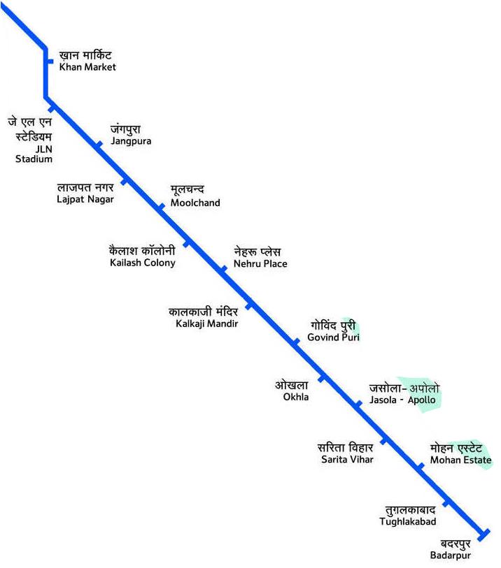दिल्ली मेट्रो वायलेट लाइन मैप